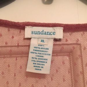 Sundance Tops - Beautiful berry-colored mesh embroidered top
